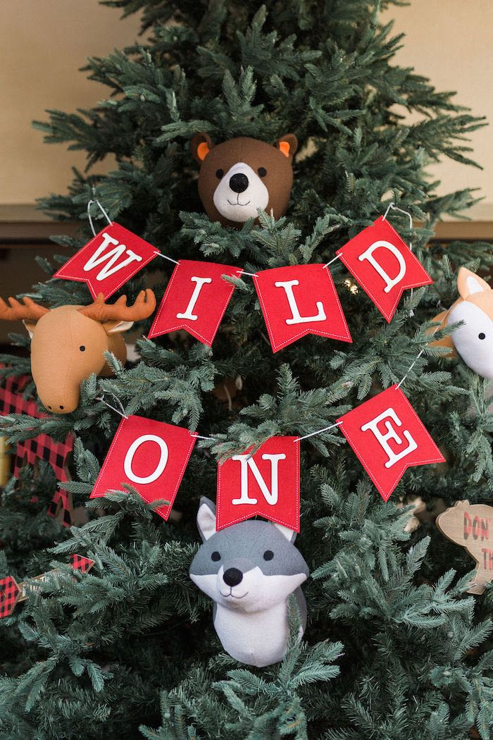 Wild One Tree Banner + Woodland Animals from a Rustic Camping Birthday Party on Kara's Party Ideas | KarasPartyIdeas.com (35)
