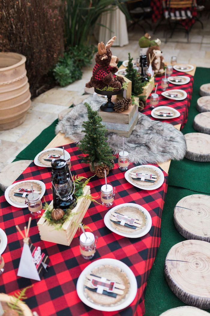 Buffalo Check Party Table from a Rustic Camping Birthday Party on Kara's Party Ideas | KarasPartyIdeas.com (34)