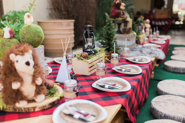 Buffalo Check Camping Party Table from a Rustic Camping Birthday Party on Kara's Party Ideas | KarasPartyIdeas.com (48)