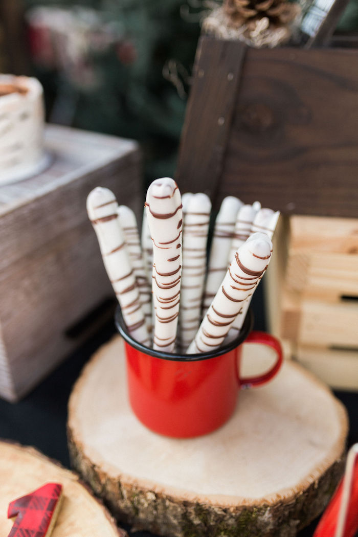 Chocolate-coated Pretzel Rods from a Rustic Camping Birthday Party on Kara's Party Ideas | KarasPartyIdeas.com (28)