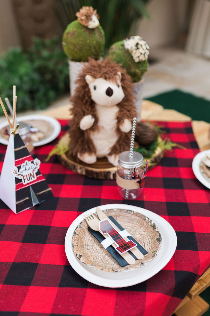 Tree Stump Plate Table Setting from a Rustic Camping Birthday Party on Kara's Party Ideas | KarasPartyIdeas.com (24)