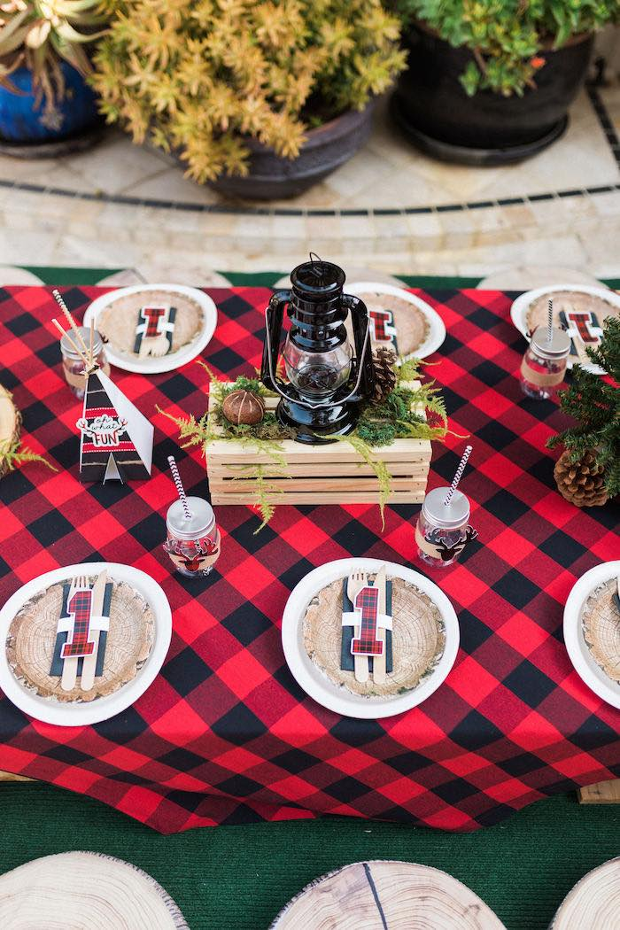 Buffalo Check Camping Party Table from a Rustic Camping Birthday Party on Kara's Party Ideas | KarasPartyIdeas.com (23)