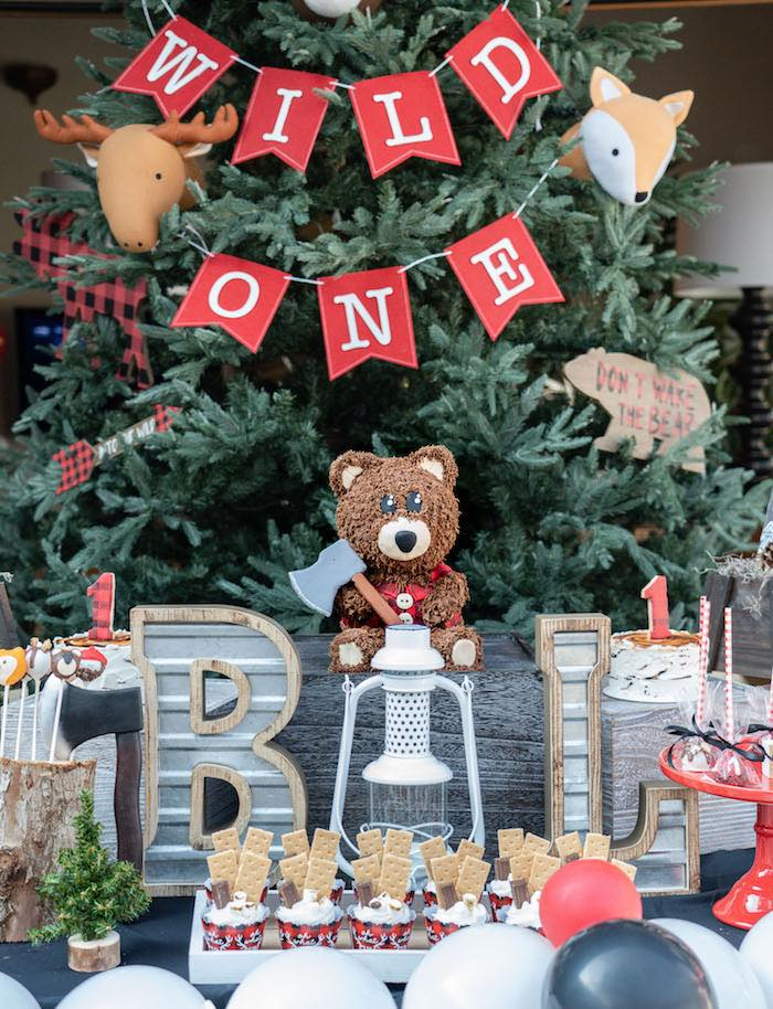 Wild One - Teddy Bear Lumberjack Dessert Table from a Rustic Camping Birthday Party on Kara's Party Ideas | KarasPartyIdeas.com (12)