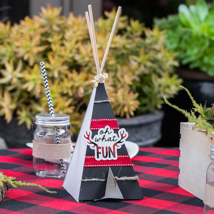 Oh What Fun - Tent Table Centerpiece from a Rustic Camping Birthday Party on Kara's Party Ideas | KarasPartyIdeas.com (10)