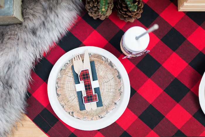 Tree Stump Table Setting from a Rustic Camping Birthday Party on Kara's Party Ideas | KarasPartyIdeas.com (46)