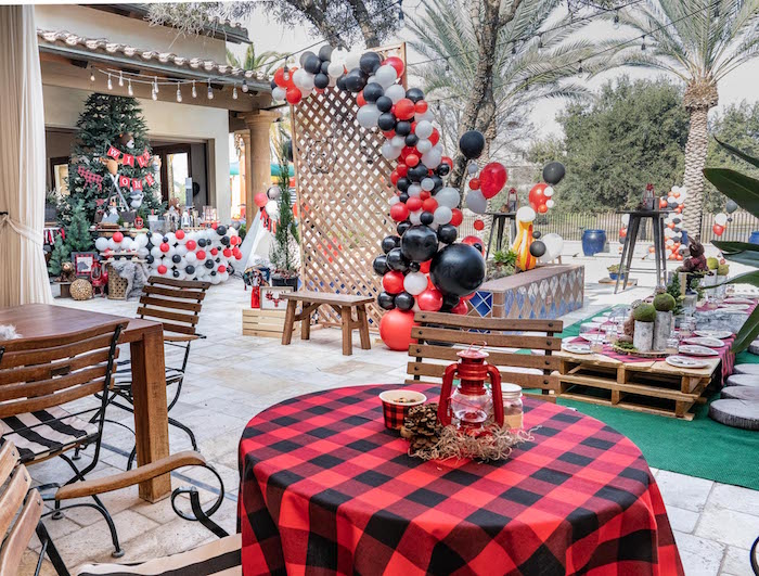 Buffalo Plaid Table from a Rustic Camping Birthday Party on Kara's Party Ideas | KarasPartyIdeas.com (8)