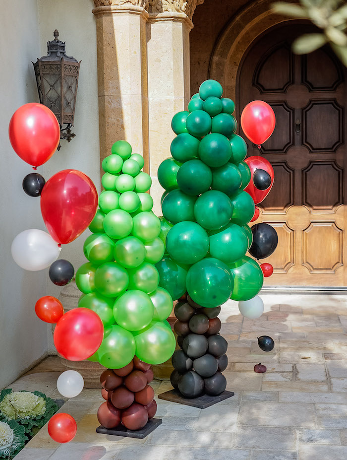 Balloon Trees from a Rustic Camping Birthday Party on Kara's Party Ideas | KarasPartyIdeas.com (7)