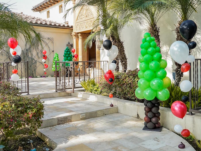 Balloon Bunting + Tree Installation Walkway from a Rustic Camping Birthday Party on Kara's Party Ideas | KarasPartyIdeas.com (6)