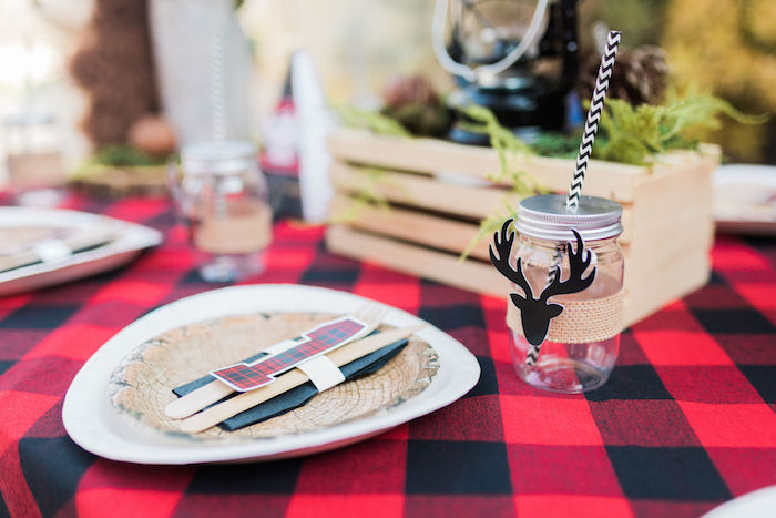 Buck Table Setting from a Rustic Camping Birthday Party on Kara's Party Ideas | KarasPartyIdeas.com (45)