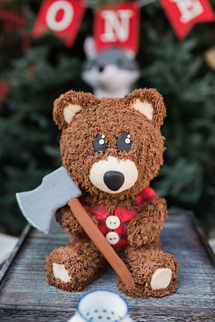 Teddy Bear Lumberjack Cake from a Rustic Camping Birthday Party on Kara's Party Ideas | KarasPartyIdeas.com (40)