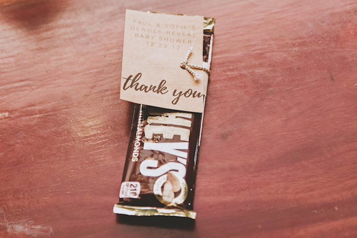 Chocolate Bar Favor from a Rustic Floral Gender Reveal Party on Kara's Party Ideas | KarasPartyIdeas.com (13)