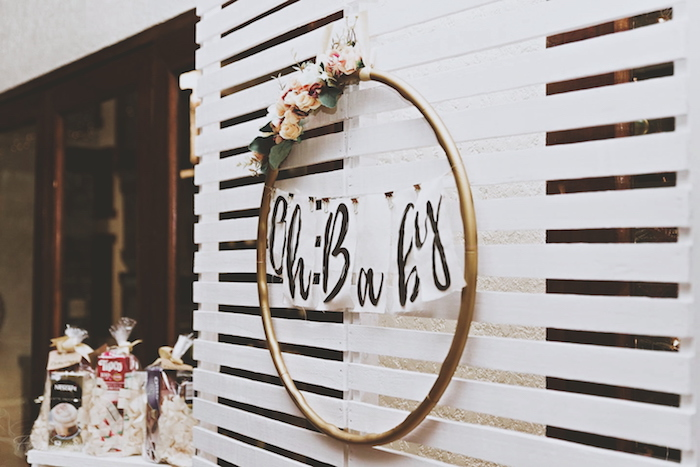 Oh Baby Hoop Backdrop from a Rustic Floral Gender Reveal Party on Kara's Party Ideas | KarasPartyIdeas.com (9)