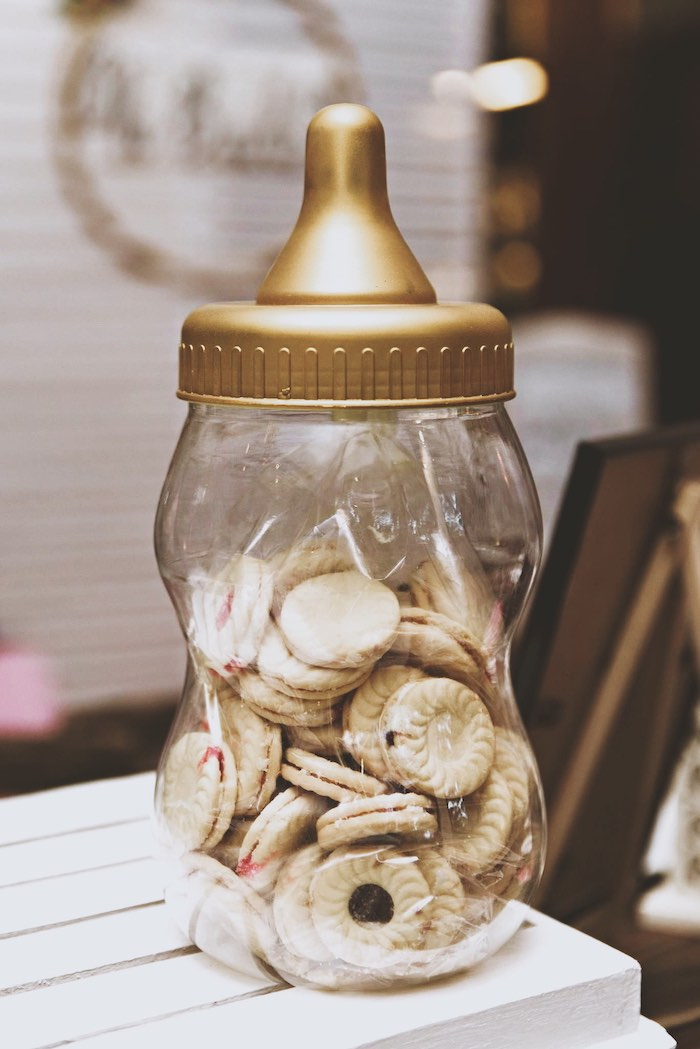 Cookie Snacks in a Gold Bottle from a Rustic Floral Gender Reveal Party on Kara's Party Ideas | KarasPartyIdeas.com (7)