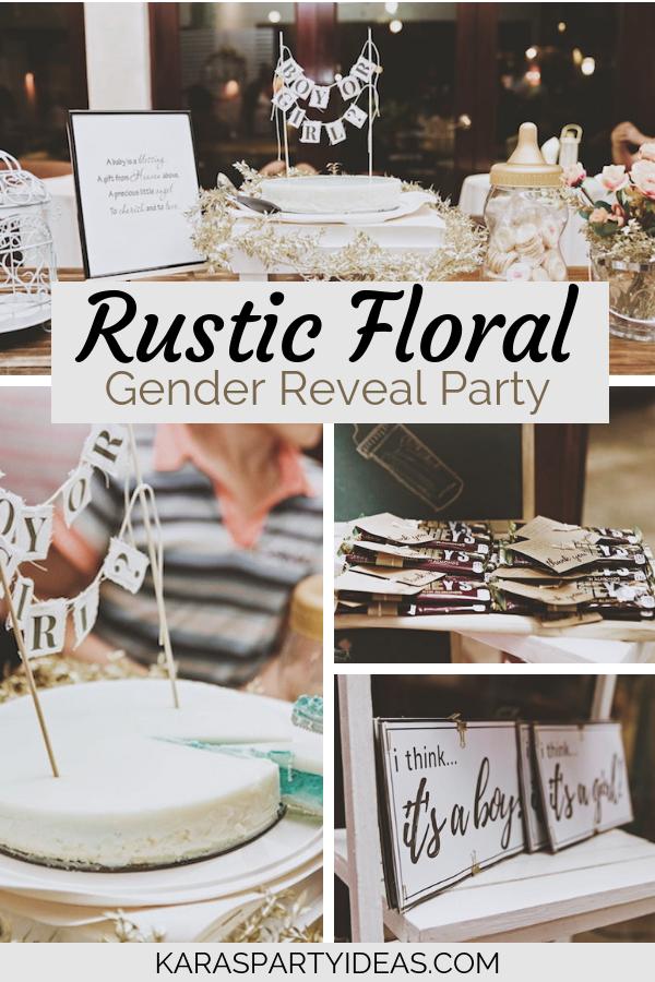 Rustic Floral Gender Reveal Party via KarasPartyIdeas - KarasPartyIdeas.com