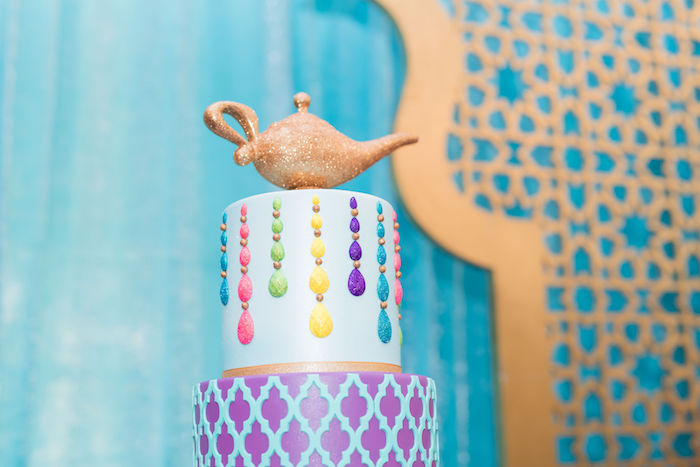 Genie Lamp Cake Top from a Shimmer and Shine Arabian Princess Birthday Party on Kara's Party Ideas | KarasPartyIdeas.com (28)