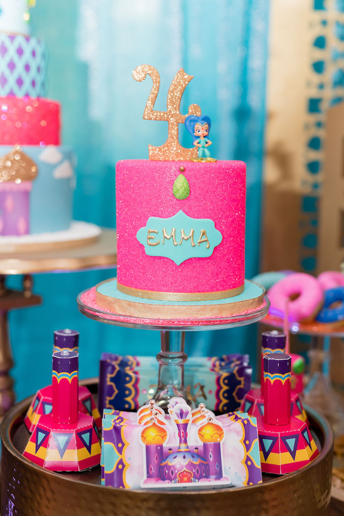 Pink Glitter Cake from a Shimmer and Shine Arabian Princess Birthday Party on Kara's Party Ideas | KarasPartyIdeas.com (27)