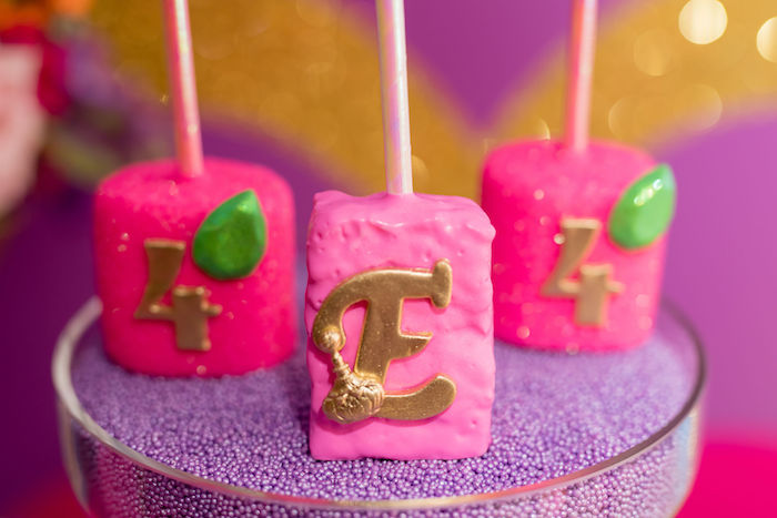 Pink Diamond Rice Krispie Treat Pops from a Shimmer and Shine Arabian Princess Birthday Party on Kara's Party Ideas | KarasPartyIdeas.com (19)