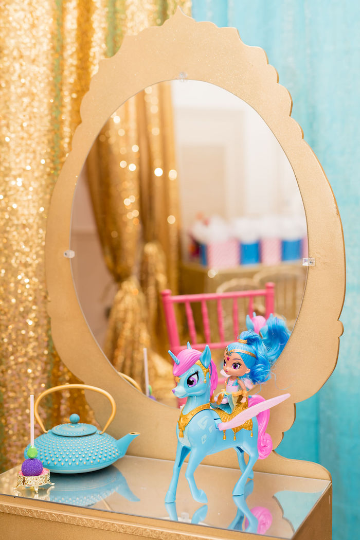 Gold Dressing Table from a Shimmer and Shine Arabian Princess Birthday Party on Kara's Party Ideas | KarasPartyIdeas.com (15)