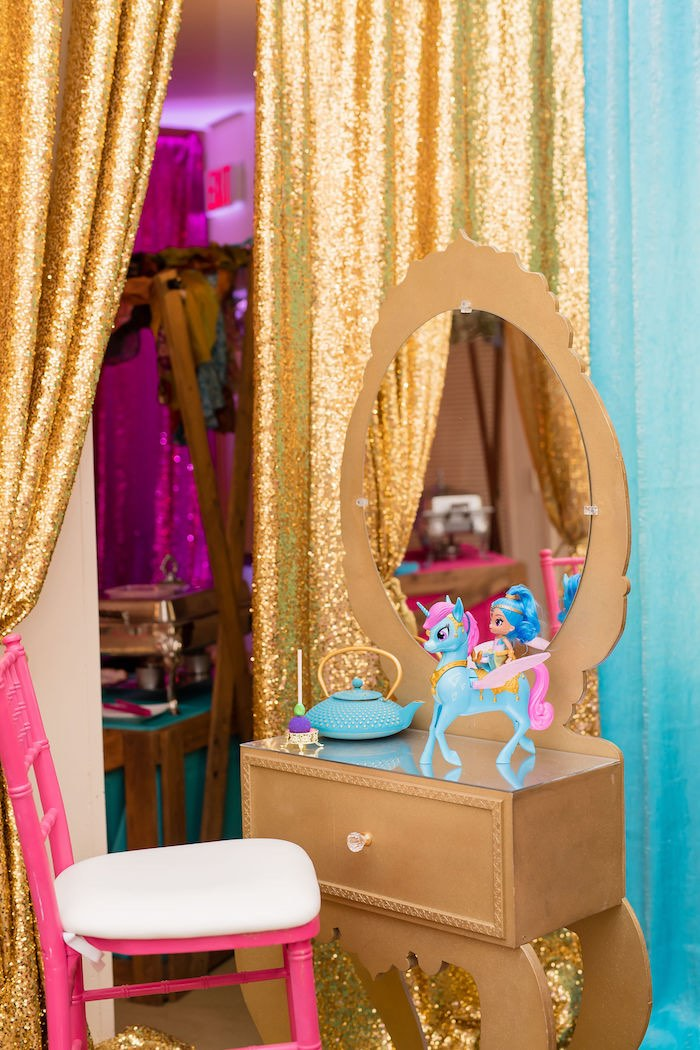 Gold Dressing Table from a Shimmer and Shine Arabian Princess Birthday Party on Kara's Party Ideas | KarasPartyIdeas.com (14)
