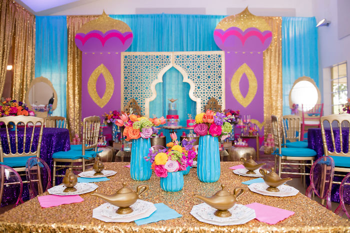 Arabian Party + Guest Table from a Shimmer and Shine Arabian Princess Birthday Party on Kara's Party Ideas | KarasPartyIdeas.com (36)