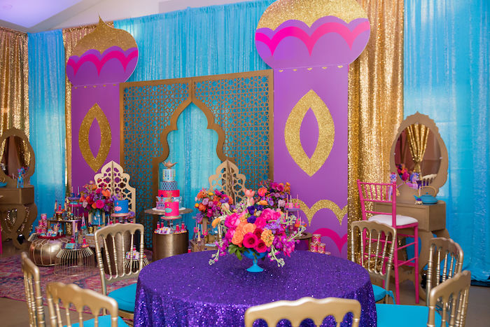 Arabian Themed Guest Table from a Shimmer and Shine Arabian Princess Birthday Party on Kara's Party Ideas | KarasPartyIdeas.com (35)