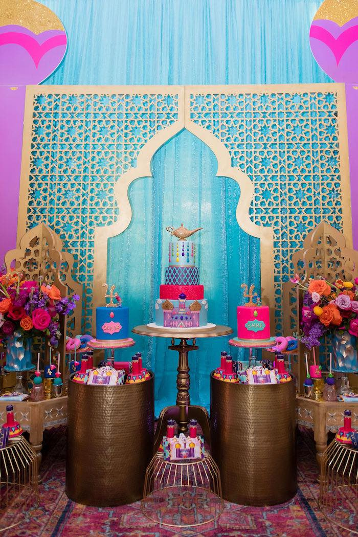 Arabian Cake Tables + Pedestals from a Shimmer and Shine Arabian Princess Birthday Party on Kara's Party Ideas | KarasPartyIdeas.com (33)