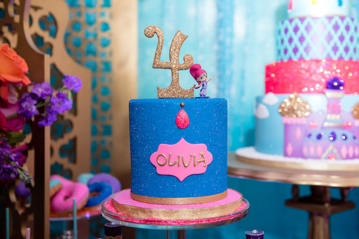 Blue Glitzed SHIMMER Cake from a Shimmer and Shine Arabian Princess Birthday Party on Kara's Party Ideas | KarasPartyIdeas.com (32)