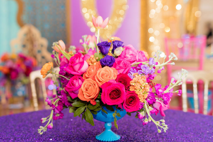 Arabian Themed Floral Centerpiece from a Shimmer and Shine Arabian Princess Birthday Party on Kara's Party Ideas | KarasPartyIdeas.com (30)