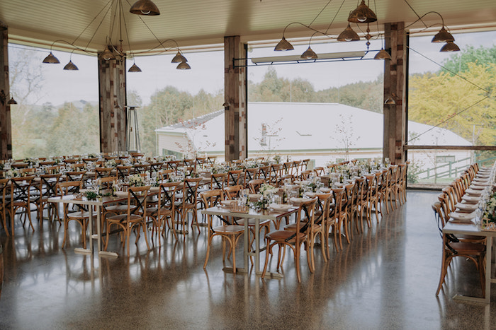 Wooden Guest Tables + Dinner Venue from a Timeless & Elegant Mountain Wedding on Kara's Party Ideas | KarasPartyIdeas.com (37)