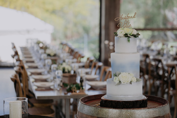 White + Blue Ombre Wedding Cake from a Timeless & Elegant Mountain Wedding on Kara's Party Ideas | KarasPartyIdeas.com (36)