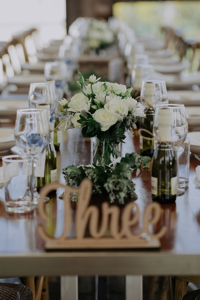 White Rose Guest Tablescape from a Timeless & Elegant Mountain Wedding on Kara's Party Ideas | KarasPartyIdeas.com (34)