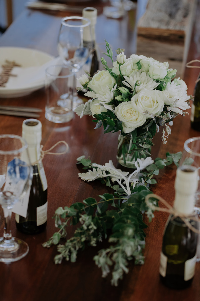 White Rose + Greenery Table Centerpieces from a Timeless & Elegant Mountain Wedding on Kara's Party Ideas | KarasPartyIdeas.com (33)