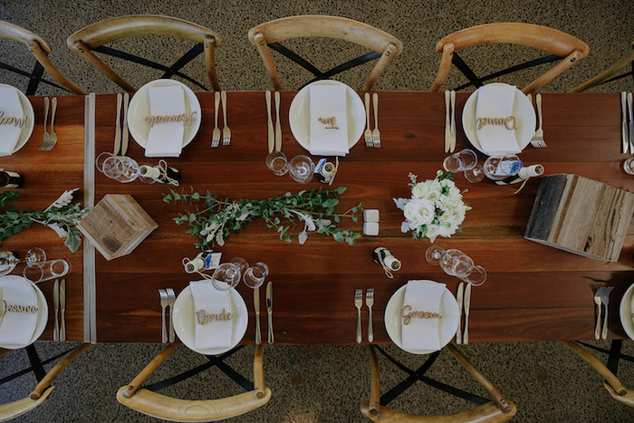 Wood Guest Tabletop from a Timeless & Elegant Mountain Wedding on Kara's Party Ideas | KarasPartyIdeas.com (31)