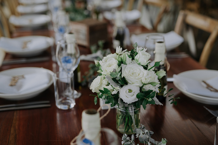 White Rose Guest Table from a Timeless & Elegant Mountain Wedding on Kara's Party Ideas | KarasPartyIdeas.com (39)