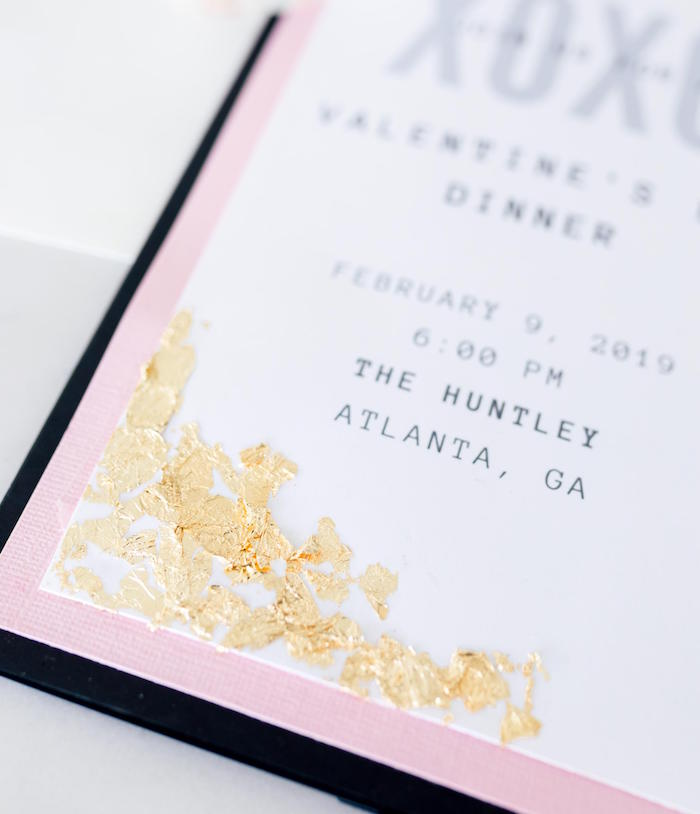 Gold-flicked Party Invite from a Valentine's Dinner Party on Kara's Party Ideas | KarasPartyIdeas.com (25)