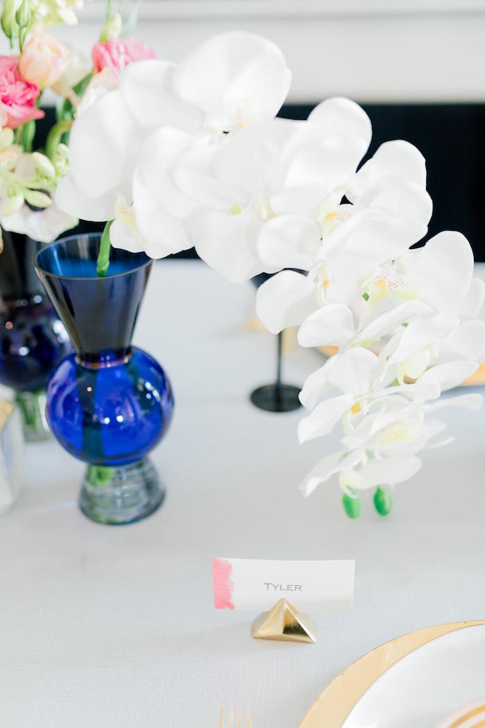 Blue Vase + White Blooms from a Valentine's Dinner Party on Kara's Party Ideas | KarasPartyIdeas.com (24)