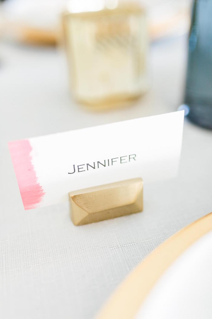 Gold Rectangle Name Card + Holder from a Valentine's Dinner Party on Kara's Party Ideas | KarasPartyIdeas.com (22)