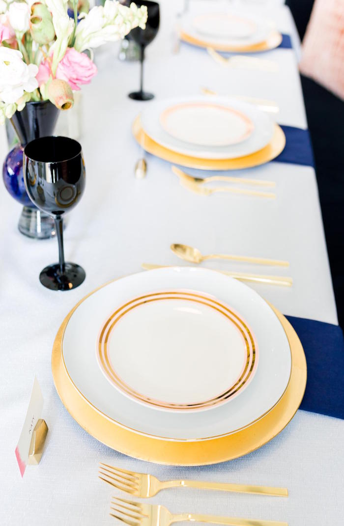 Gold-rimmed plates + table settings from a Valentine's Dinner Party on Kara's Party Ideas | KarasPartyIdeas.com (21)