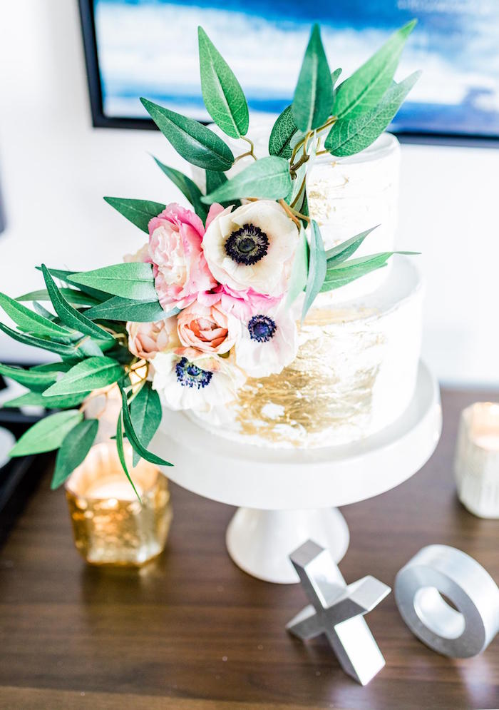 Floral Glam Cake from a Valentine's Dinner Party on Kara's Party Ideas | KarasPartyIdeas.com (18)