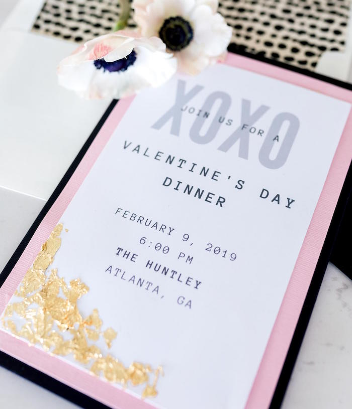 XOXO - Gold Specked Valentine's Party Invite from a Valentine's Dinner Party on Kara's Party Ideas | KarasPartyIdeas.com (17)