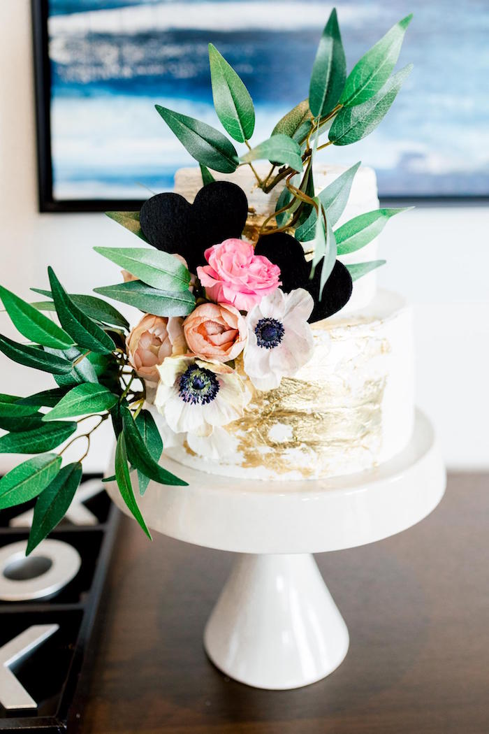 Floral Glam Cake from a Valentine's Dinner Party on Kara's Party Ideas | KarasPartyIdeas.com (14)