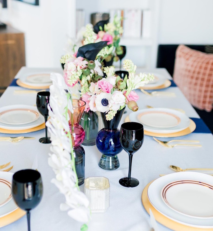 Floral Glam Dining Tablescape from a Valentine's Dinner Party on Kara's Party Ideas | KarasPartyIdeas.com (6)