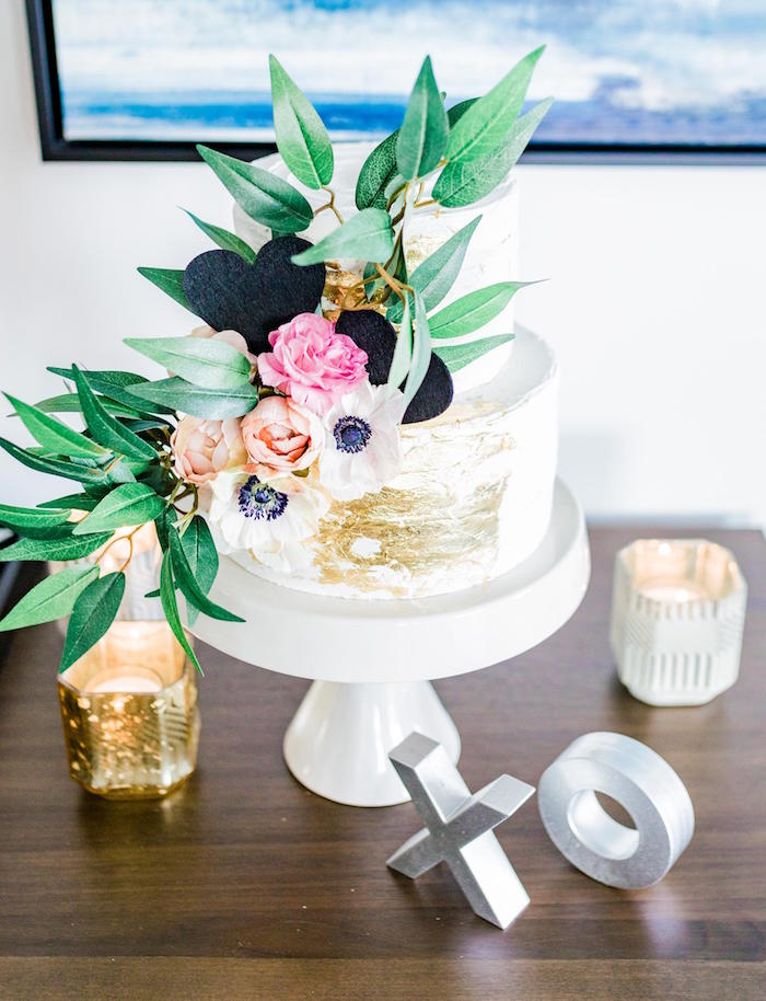 Floral Glam Cake from a Valentine's Dinner Party on Kara's Party Ideas | KarasPartyIdeas.com (32)