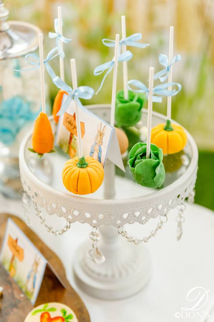 Vegetable Garden Cake Pops from a Vintage Peter Rabbit Birthday Party on Kara's Party Ideas | KarasPartyIdeas.com (19)