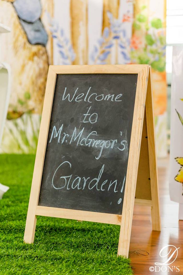 Welcome Easel Sign from a Vintage Peter Rabbit Birthday Party on Kara's Party Ideas | KarasPartyIdeas.com (16)