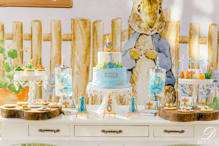 Peter Rabbit Dessert Table from a Vintage Peter Rabbit Birthday Party on Kara's Party Ideas | KarasPartyIdeas.com (31)