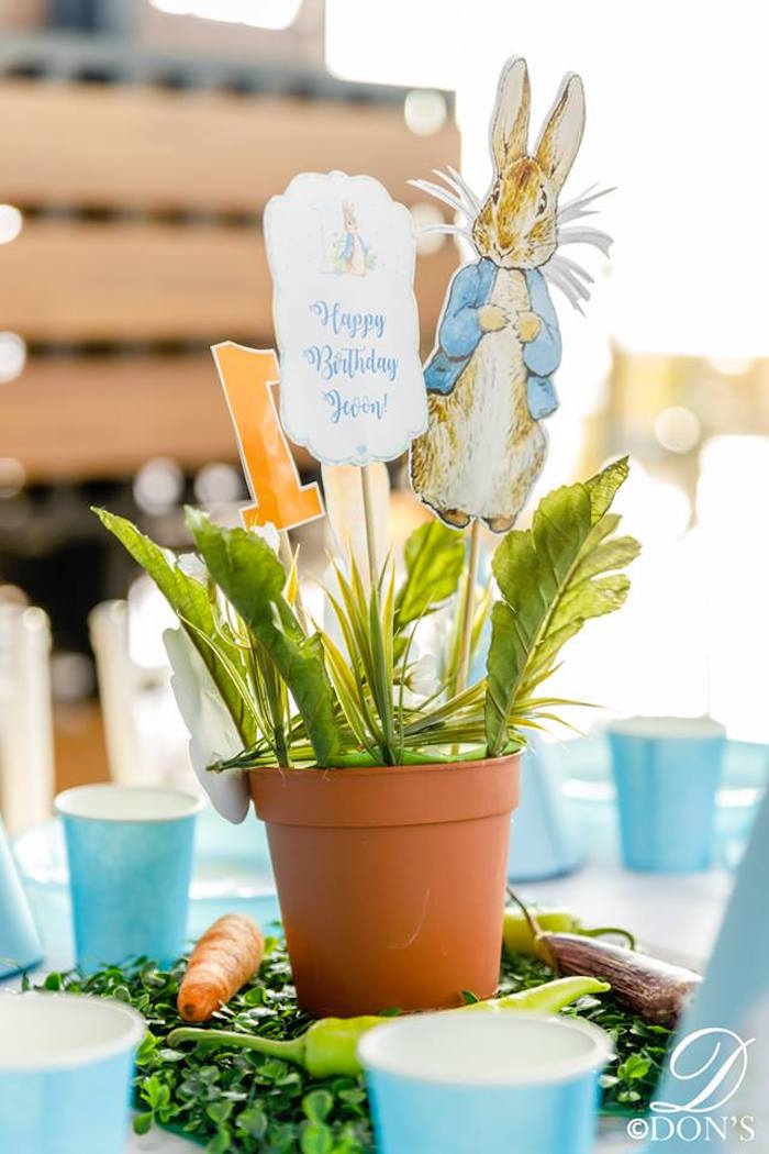 Peter Rabbit Terra Cotta Pot Garden Table Centerpiece from a Vintage Peter Rabbit Birthday Party on Kara's Party Ideas | KarasPartyIdeas.com (12)