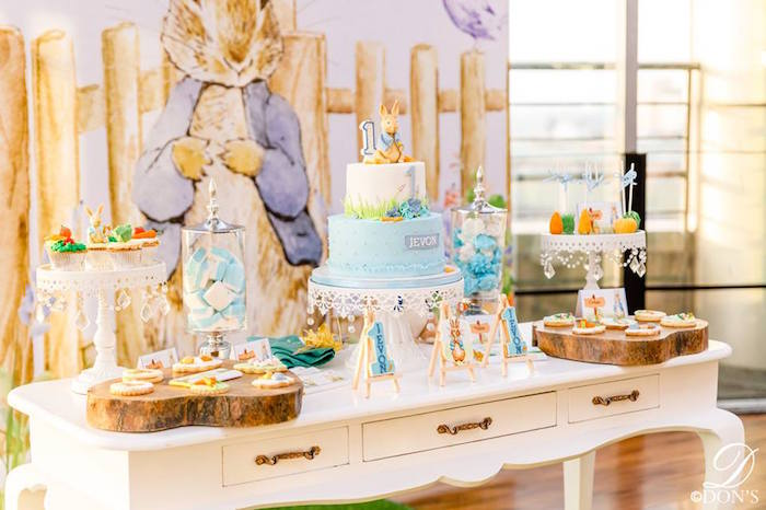 Peter Rabbit Dessert Table from a Vintage Peter Rabbit Birthday Party on Kara's Party Ideas | KarasPartyIdeas.com (10)