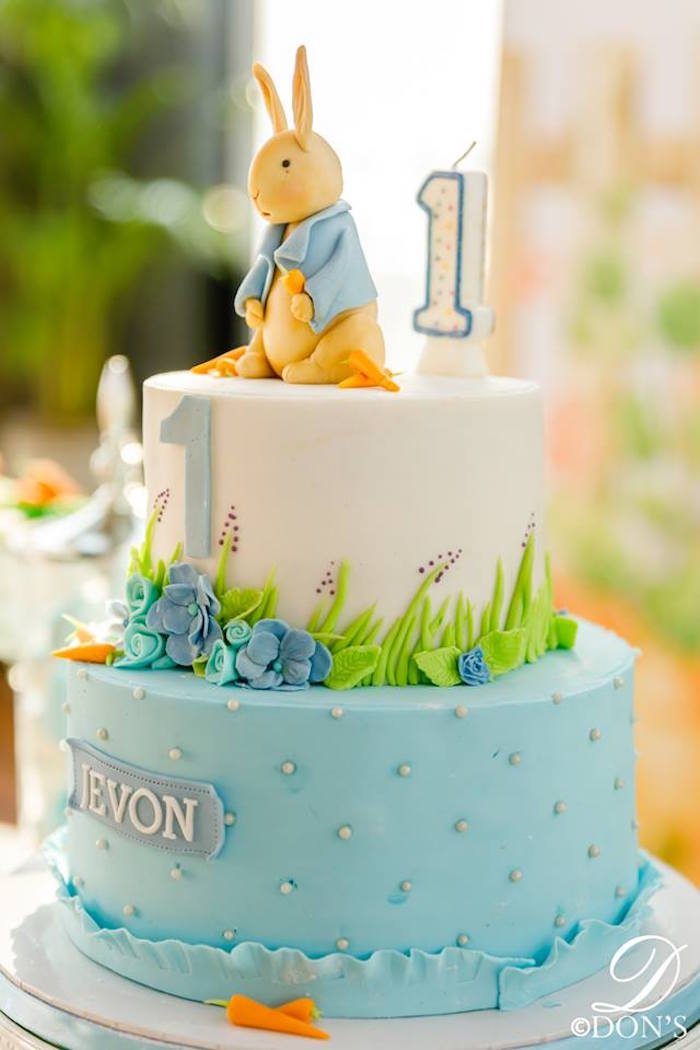 Peter Rabbit Cake from a Vintage Peter Rabbit Birthday Party on Kara's Party Ideas | KarasPartyIdeas.com (7)