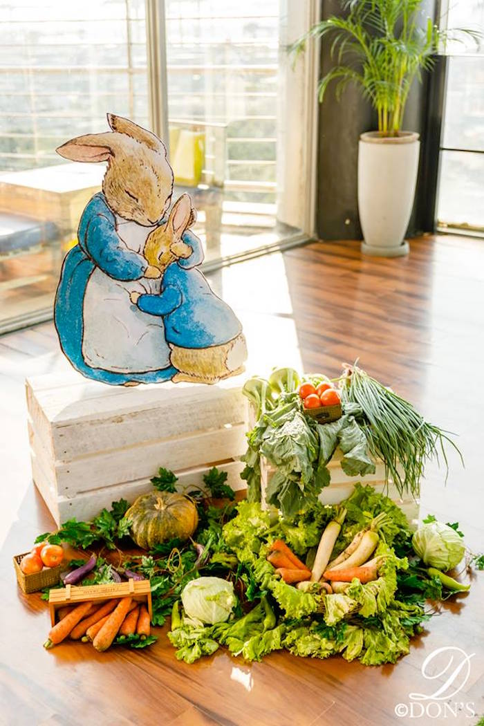 Peter Rabbit Standee + Fresh Veggie Display from a Vintage Peter Rabbit Birthday Party on Kara's Party Ideas | KarasPartyIdeas.com (29)